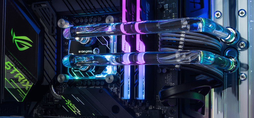 Clear coolant in a custom water-cooled PC