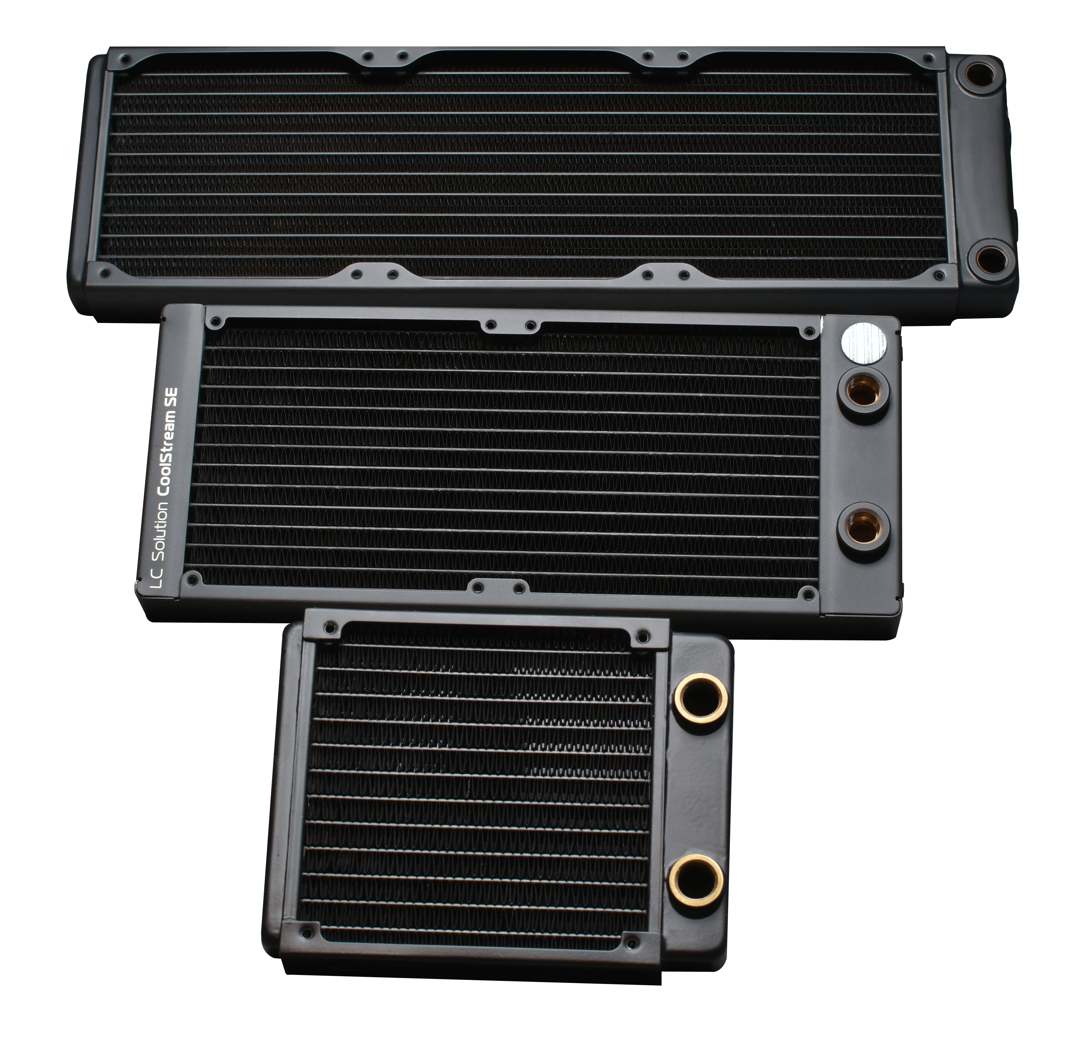 PC water cooling radiators in their most common sizes.