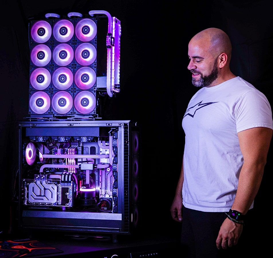 Herman with his water cooled PC masterpiece